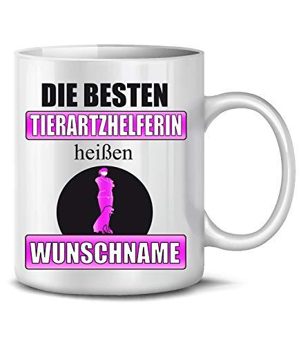 Golebros Die besten Tierarzthelferin heißen Wunschname Beruf Kollege Arbeit 6443 Fun Tasse Becher Kaffeetasse Kaffeebecher Weiss