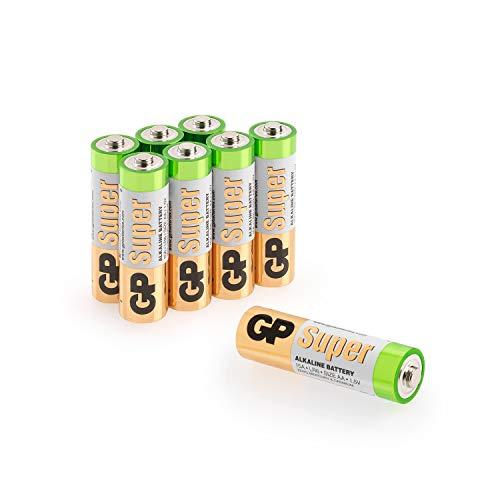 GP Batterien AA (Mignon, LR6) 1.5V, Super Alkaline Longlife Technologie, 8 Stück Mignon Batterien in Original-Blisterverpackung