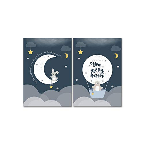 Kaxiou Bear Bunny Moon Balloon Canvas Poster Nursery Wall Art Print Schilderij Animatie Muurschildering Decoratie Nordic Kid Room Decoratie-40 x 60 cm x 2 stuks zonder lijst