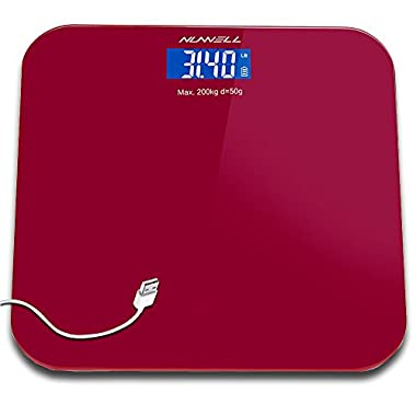 Digital Bathroom Body Weight Scale,NUWELL Rechargeable USB Charging Accurate Electronic Health Weighting Scales with Large LCD Display,Step-On Technology,0.44 pounds Min-440 Pounds Max(Red)