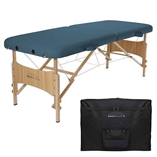 Saloniture Basic Portable Folding Massage Table - Blue