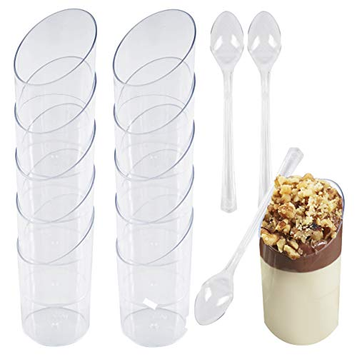 Matana 100 Copas de Postre de Plástico con Transparente y 100 Cucharas - 70ml