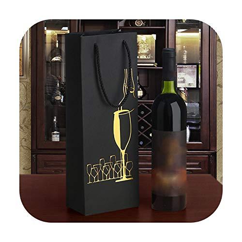 Fun-boutique - Bolsa de botellas de vino (12 unidades, 35 x 12 x 9 cm, papel negro, portabotellas de vino, único, vino, oro, botella de aceite, bolsas de regalo, 4 – 35 x 12 x 8 cm
