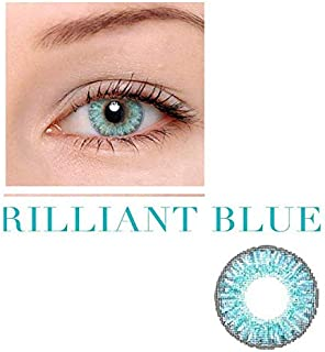 Unisex Contact Lenses Colored Collection Cosmetic Contact Lenses, 12 Months Disposable with Case-Brilliant Blue