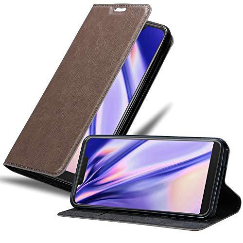 Cadorabo Hülle für WIKO View 2 GO in Kaffee BRAUN - Handyhülle mit Magnetverschluss, Standfunktion & Kartenfach - Hülle Cover Schutzhülle Etui Tasche Book Klapp Style