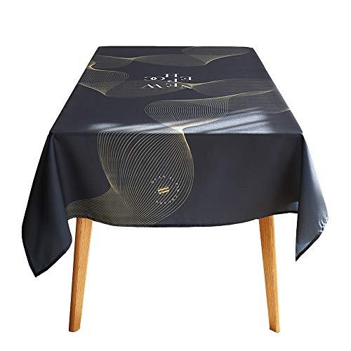 ZHANGGUOHUA-zheyangwang Impermeabile a Prova di Olio Tessuto Tessuto Misto Tavolino Tovaglia Ins Nordic Black Grey Ristorante Rotondo Copertura Tavolo (Color : Black, Size : 120X120cm)