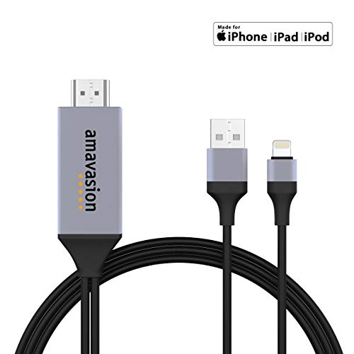 Amavasion HDMI-kabel voor iPhone iPad - iPhone naar tv HDMI-kabel 1080P digitale AV-adapter HDTV-kabel voor 11/11 Pro/11 Pro Max/XR/XS/XS Max/8/8 Plus/7/7 Plus/6/6 Plus/6S/6S Plus/SE, iPad Air/Mini