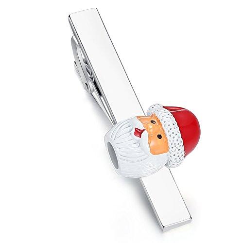HONEY BEAR Weihnachtsmann Krawattenklammer für Herrenhemd, Edelstahl, 5.4cm,MEHRWEG
