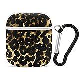Tiger Leopard Skin Pattern Cover Carcasas para AirPods 1 y 2 a prueba de golpes Funda protectora PC Funda para AirPods con llavero Accesorios