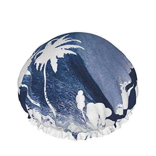 Wasserdichte doppellagige Duschhaube, die Longboard Surfer Dusche Haar Badehaube, elastische Schlafmütze Haarhaube Spa Salon für Frauen