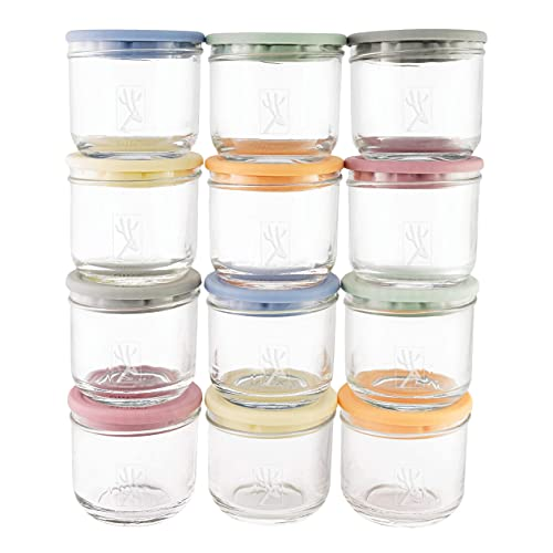 Elk and Friends 5oz Borosilicate Glass Baby Food Storage Jars with Silicone Lid   Available in 12 or 6 Set   Strong Glass   Storage Containers   Microwave, Oven & Dishwasher Safe   Infant and Babies