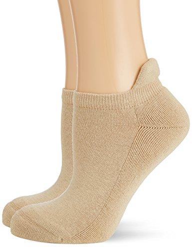 Hudson Damen Sneaker Socken mit Plüschsohle, 025037 Only Plush, 2er Pack, Gr. 35/38, Beige (Sisal 0783)