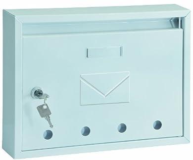 Foto di Rottner cassetta postale Imola Bianca, in acciaio, con design moderno e compatto, 4 fori per ispezione e targhetta portanome, di colore bianco.