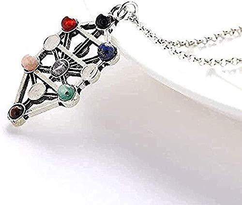 Yiffshunl Collar Collar Antiguo Hueco 7 Piedras de Chakra Reiki Balance Buda Collares Pendientes Collar de Piedra de Yoga para Mujer Collar Colgante de joyería Regalo para Mujeres Hombres Niñas Niños