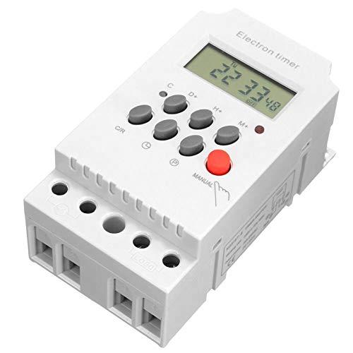 Fesjoy Temporizador Digital programable AC 220V 25A, Temporizador electrónico de Carril DIN, Controlador de Interruptor de Tiempo con Pantalla LCD, Reloj