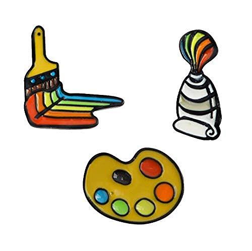 JXtong2 Brosche Malwerkzeuge Palette Farbtube Pinsel Cartoon Brosche Regenbogen Kunst Emaille Pin Künstler Geschenk Rucksack Shirt Zubehör