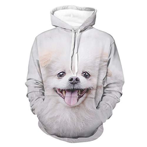 Cutenono Sudadera unisex con capucha para perros y animales, de manga larga, con bolsillos blanco S
