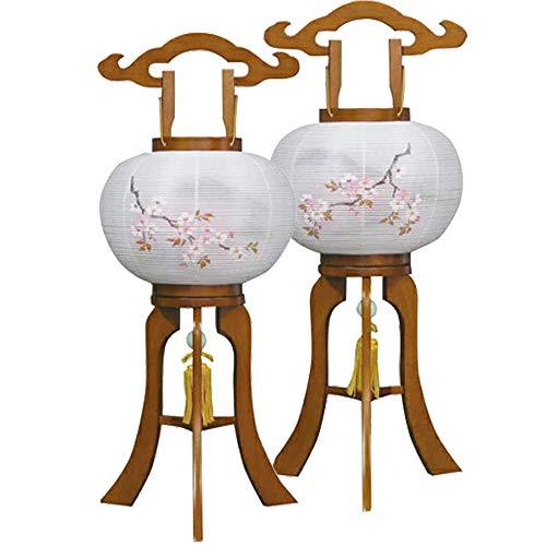 【お仏壇のはせがわ】 盆提灯 姫行灯 10号 二重 桜 対 484N 日本製 盆ちょうちん 初盆 新盆