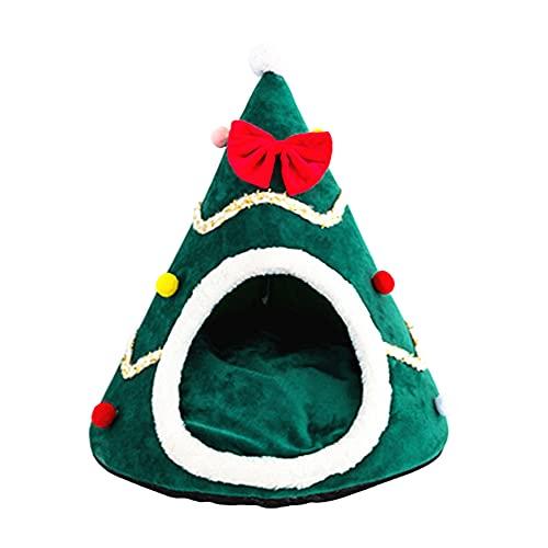 I3CKIZCE Cuccia per Animali in Peluche Natale Cani Gatti Tappetino Pieghevole Albero di Natale Feste Inverno Caldo Molle del Rimovibile Casetta Fondo Impermeabile Lavabile Dolce Carina (A-Verde, L)
