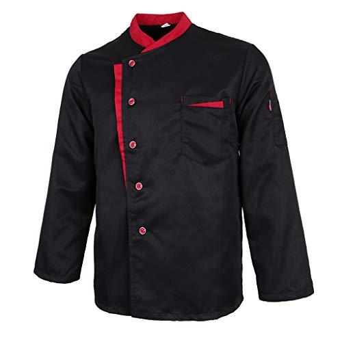 Baoblaze Chaqueta de Chef Mangas Largas Jacket Coat Hotel Camareros Hostelería Cocina Uniforme Tops - Negro, M