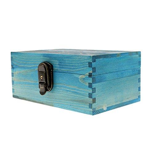 Desconocido Cajas de Joyería Antiguo con Bloqueo Metal y Llave Pecho Baratija - Azul