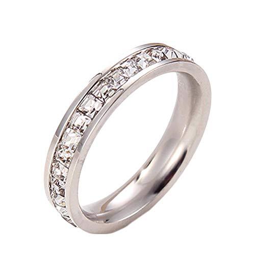 Jituan Anillo de diamantes de una sola fila de diamantes de circonita cúbica para matrimonio, compromiso, anillo de regalo de plata tamaño 3-10