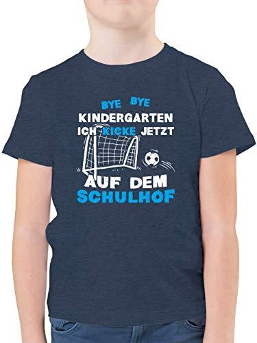 Einschulung und Schulanfang Geschenk - Bye Bye Kindergarten Einschulung Fußball Blau - 128 (7/8 Jahre) - Dunkelblau Meliert - Kinder Shirt blau - F130K - Kinder Tshirts und T-Shirt für Jungen
