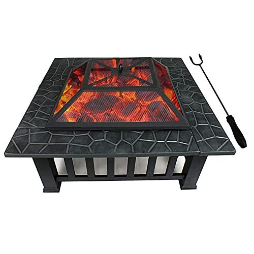 Brasero Exterior Poso de Fuego ardiente de leña, terraza de jardinería Estufa de calefacción Decorativa, Patio Cuadrado al Aire Libre Barbacoa de carbón de Barbacoa de Fuego