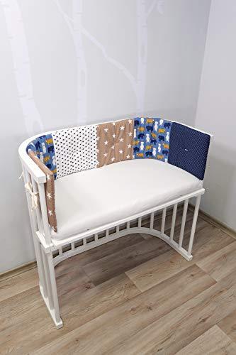 ULLENBOOM Paracolpi per culla neonato e lettino bambino in cotone imbottito   SABBIA, ORSO