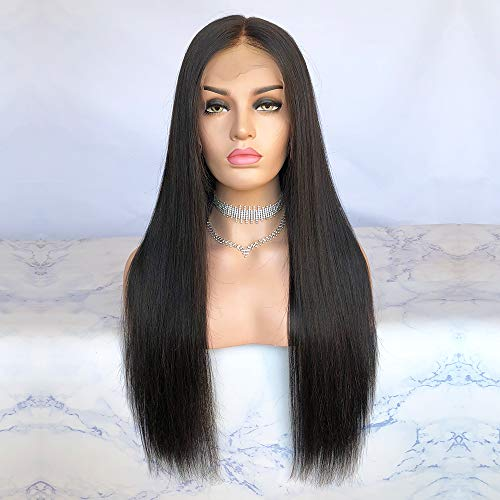 Cbwigs Glueless Brazilian Remy Natural Straight Lace Front Wigs Human Hair 4.5 inch Deep Parting Human Hair Wigs for Black Women 130% Density (16 inch, #1B)