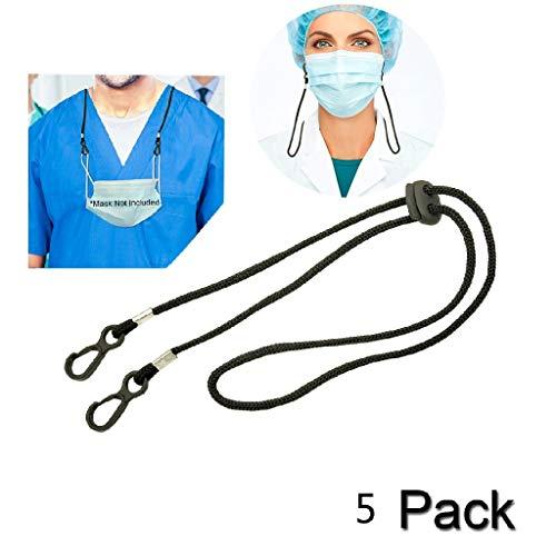 Lanyard Schlüsselband für Gesichtsbedeckung, Mackenkette mit Clip, mackenhalterung, Mackenband für mundschutz, Serviettenhalter Lanyard für Arzt, Erwachsene, Kinder (5, Schwarz)