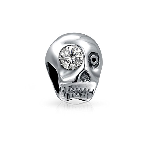 Halloween Skelett Totenkopf Weiß CZ Auge Charm Bead Charms Für Damen Sterling Silber Passt Europäischen Armband