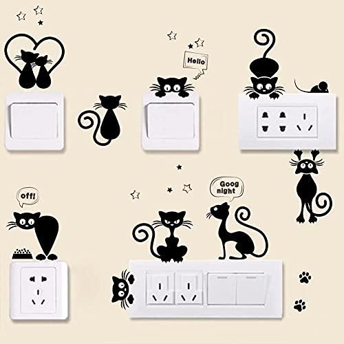 Pegatinas de panel de interruptor de gato divertido negro para habitación de niños decoración de pared de dormitorio de niños vinilo extraíble Catoon Art Mural calcomanías papel tapiz