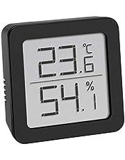 TFA Dostmann cyfrowy termo-higrometr, do kontroli klimatu w pomieszczeniu, mały i poręczny, czarny, dł. 70 x szer. 35 x wys. 110 mm