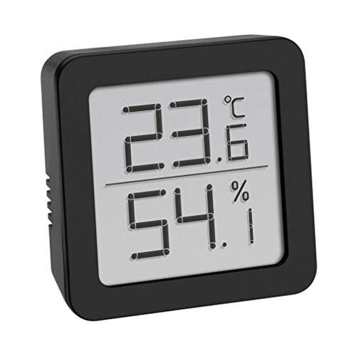 TFA Dostmann Digitales Thermo-Hygrometer, zur Raumklimakontrolle, klein und handlich, schwarz, L70 x B35 x H110 mm