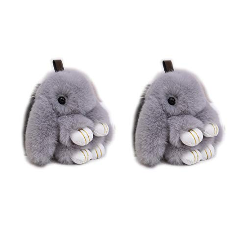 Verve Jelly 2 Stk Netter Plüsch Häschen Keychain Kaninchen-Pelz-Schlüsselanhänger Frauen-Tasche Spielzeug Puppe Fluffy Pompon Schöne Keyring
