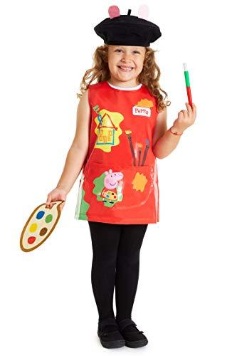 Peppa Pig Disfraz Niña, Disfraces Niña Pintora Incluye Delantal Pincel Paleta (4 Años)