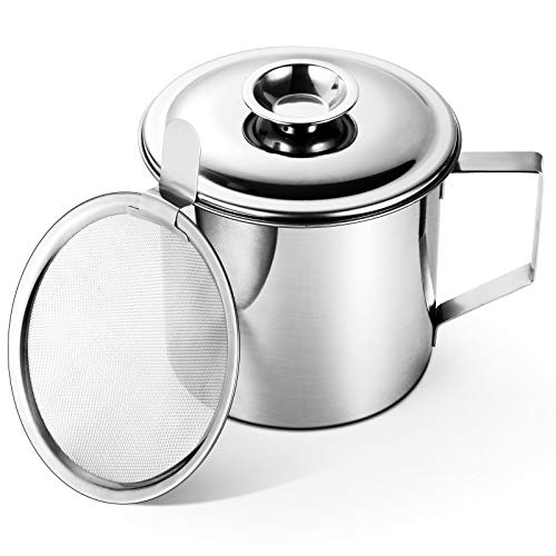 Bacon Grease Container with Stainless Steel Grease Strainer Perfect As Pan Grease Holder, Cooking Oil Keeper and Storage(1.25 Quart | 5 Cups)