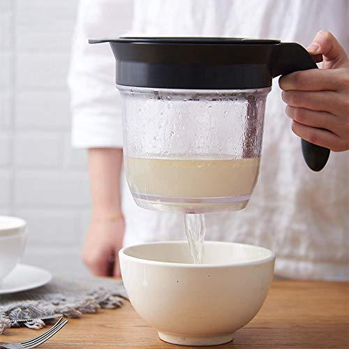 Ardentity Fettabscheider, Fettkanne aus Kunststoff mit integriertem Sieb und Messskala für das Abschöpfen von Fett aus Soßen und Suppen (1 Liter)