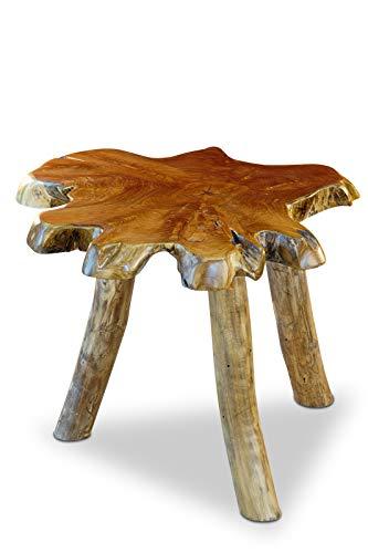 Teak Wurzelholz Beistelltisch THAWI - 45x45-55x45-55cm Tischplatte aus massiver Baumscheibe im rustikalen Landhausstil, geeignet für Wohnzimmer, Wintergarten oder als Kaffeetisch