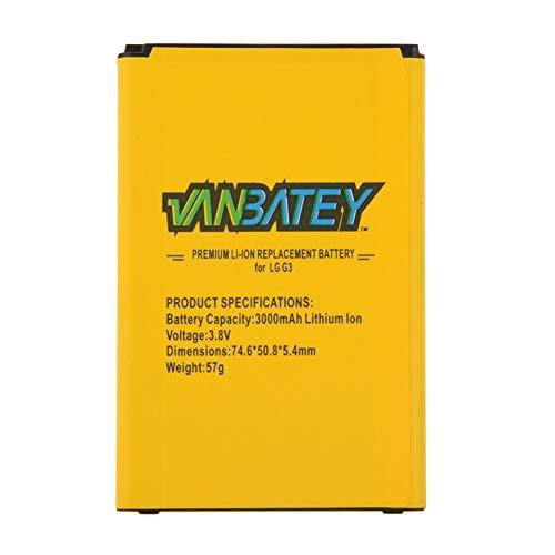 Vanbatey Batería para LG G3 BL-53YH | 3000 mAh 0 ciclo Compatibilidad de las prestaciones originales con la batería LG L33l | VX8300 D850 D855 F400 LS990 VS985 D852 D851 GT365