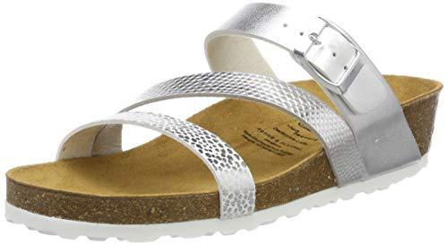 Lico Damen Natural Glitter Pantoletten, Silber (Silber), 39 EU