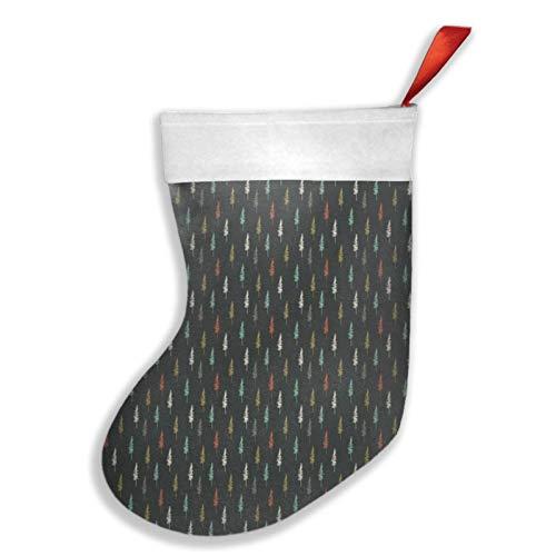 Art Fan-Design Lodgepole Weihnachtsstrumpf aus Kiefernholz (dunkle Farben), Weihnachtsstrumpf für Kamin, Baum, Socke, Geschenk, Dekorationen für Weihnachtsfeier für Familie, Urlaub, Party, Rot