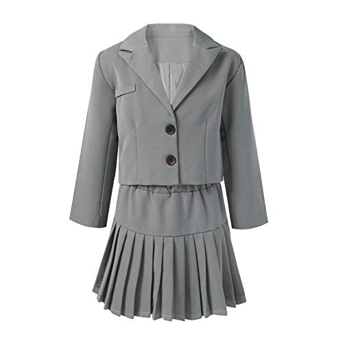 CHICTRY Anime School Girls Two Pieces Japanese Korean Blazer Uniform Suit with Pleated Skirt Grey 2-3T