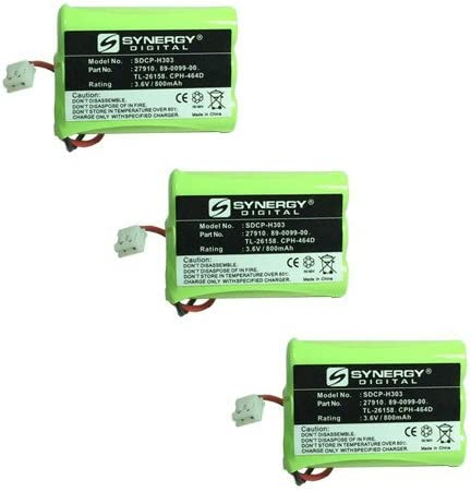 Radio Shack 23-894 Cordless Phone Battery Combo-Pack includes: 3 x SDCP-H303 Batteries