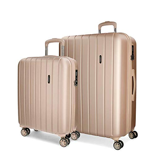 Movom Wood Juego de maletas Beige 55/70 cms Rígida ABS Cierre TSA 119L 4 Ruedas dobles Equipaje de Mano