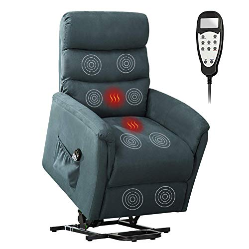 Bonzy Home Remote Control Recliner Chair with Vibration Massage and Heat - Electric Powered Lift Recliner Chair - Home Theater Seating - Bedroom & Living Room Chair Recliner Sofa for Elderly (Blue)