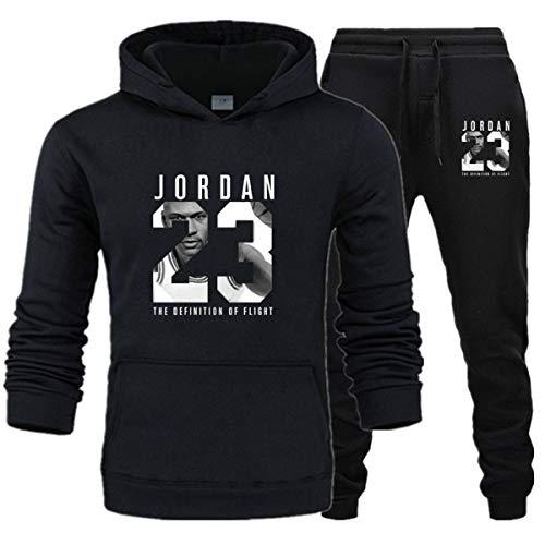 Herren 23# Jordan Wintersportanzug 2 Stück Gym Basketball Plus Samt Sportswear Jacke Casual Sport Sweater Hose A XXL