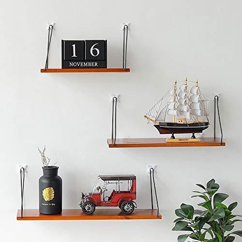 Wandrek, scheidingswand van massief hout, wandrek voor woonkamer, wandplank met wanddecoratie 40cm Dark Wood Color