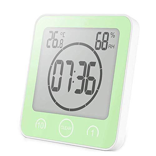 VORRINC Badezimmer Uhren Digital Wecker Uhr Badezimmer Dusche Saugnapf Shower Clock mit LCD Display Luftfeuchtigkeit Temperatur Wanduhren,Countdown Timer Für Dusche Küche (Grün)